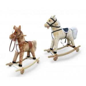 LT 850 Cavallo a dondolo peluche e legno con rotelle luci e suoni