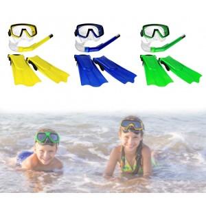 Kit maschera boccaglio e pinne per bambini CIK E CIAK 400479 in tre colori