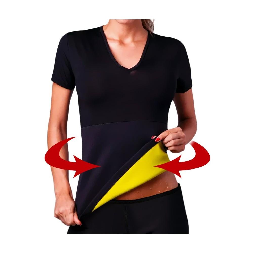 T-shirt sauna snellente in neoprene braccia e addome da donna dalla S alla XXL
