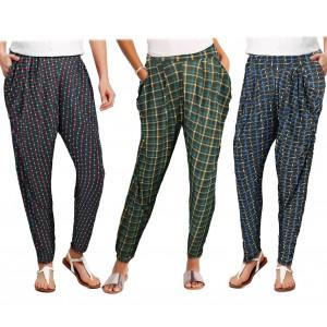 TG08-13 Pack da 3 pantaloni da donna mod. ONLY tessuto morbido fantasia scacchi