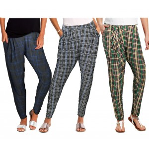 TG08-13 Pack da 3 pantaloni da donna mod. STYLE tessuto morbido fantasia scacchi