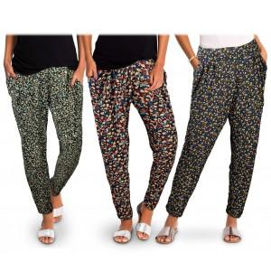 TG08-11 Pack da 3 pantaloni da donna mod. FLOREAL tessuto morbido fantasia fiori