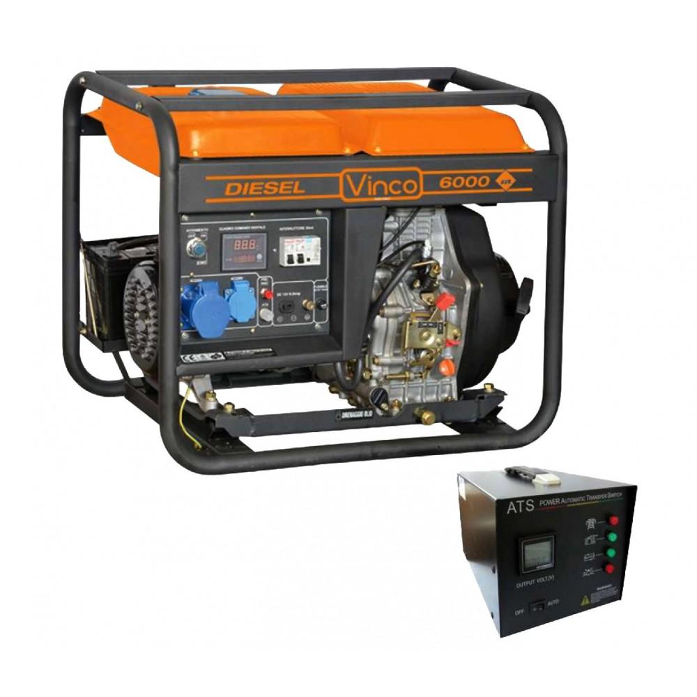 60211 Generatore corrente VINCO 4 tempi 5,5kw diesel 10 HP avv. elettrico 418cc