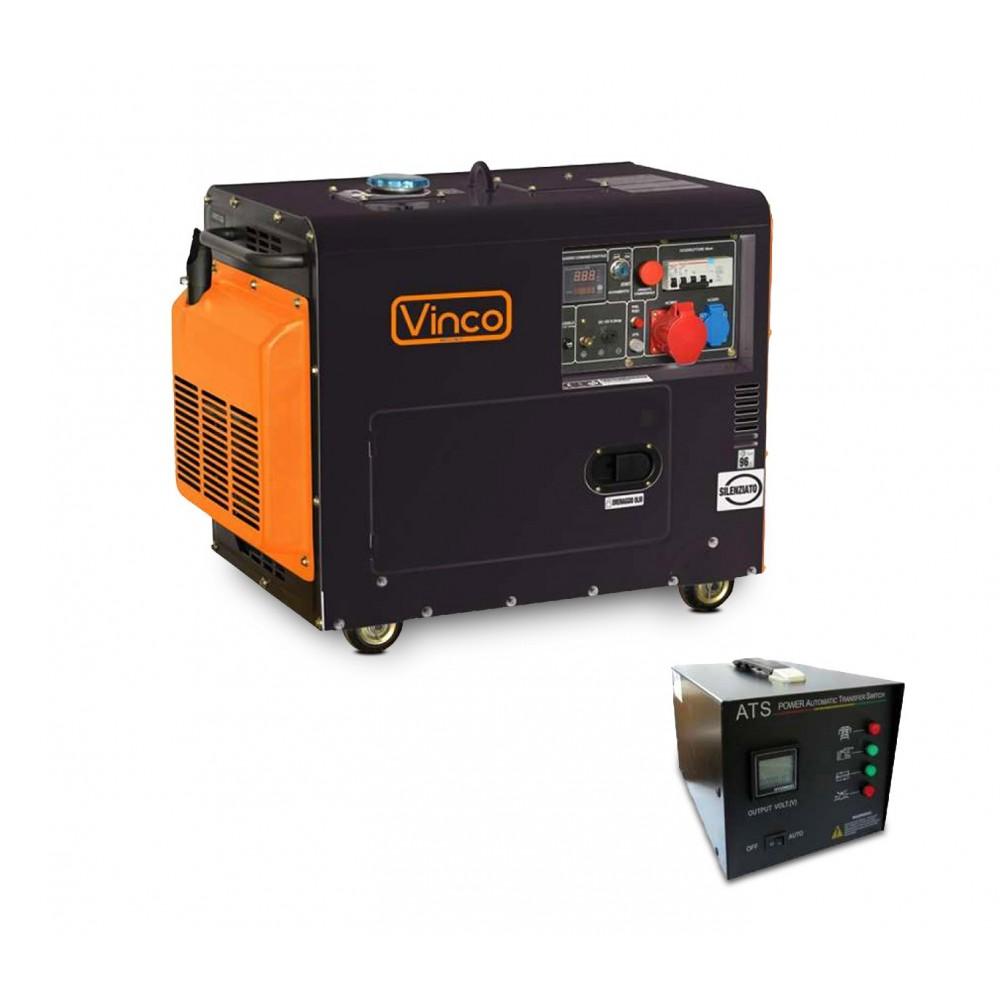 Generatore corrente silenziato 60232 VINCO 4 tempi 5,5kw diesel monofase-trifase