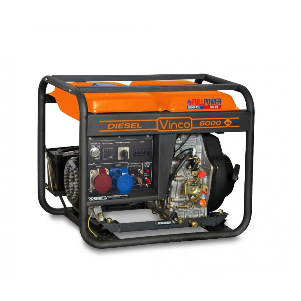 Generatore di corrente 60213 VINCO diesel 5,5 KW monofase-trifase FULL POWER