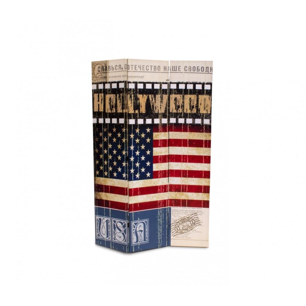 05974 Separè paravento modello Vecchia America tela su legno 120 x 180 cm