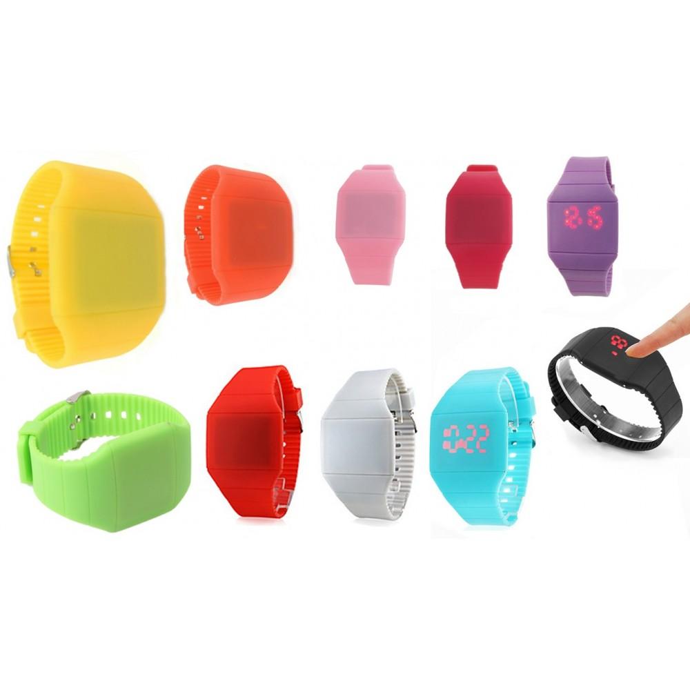 Orologio da polso touch digitale unisex bracciale in silicone