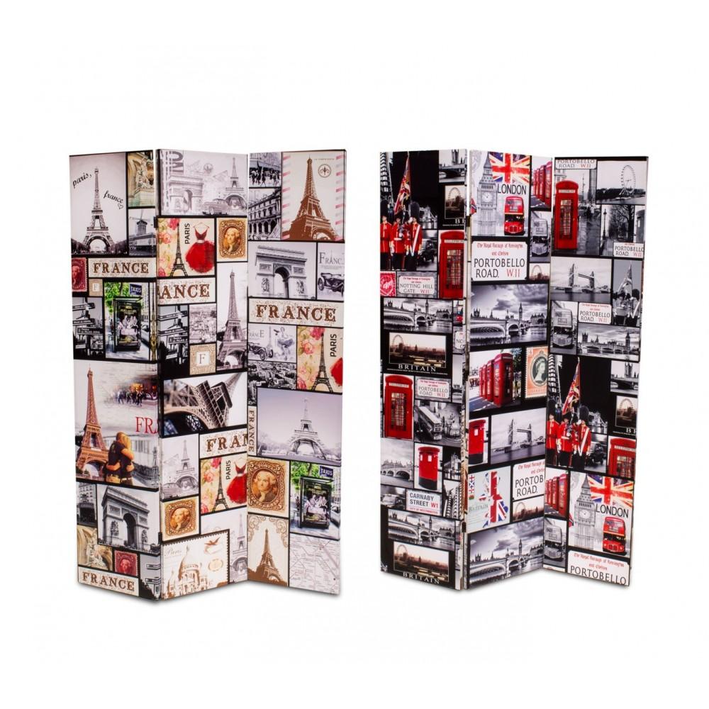 Separè paravento 05975 doppio modello Londra Parigi tela su legno 120 x 180 cm