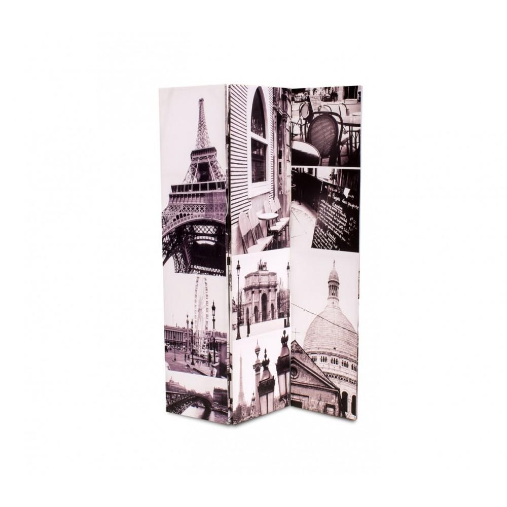 05976 Separè paravento doppio modello Parigi tela su legno 120 x 180 cm