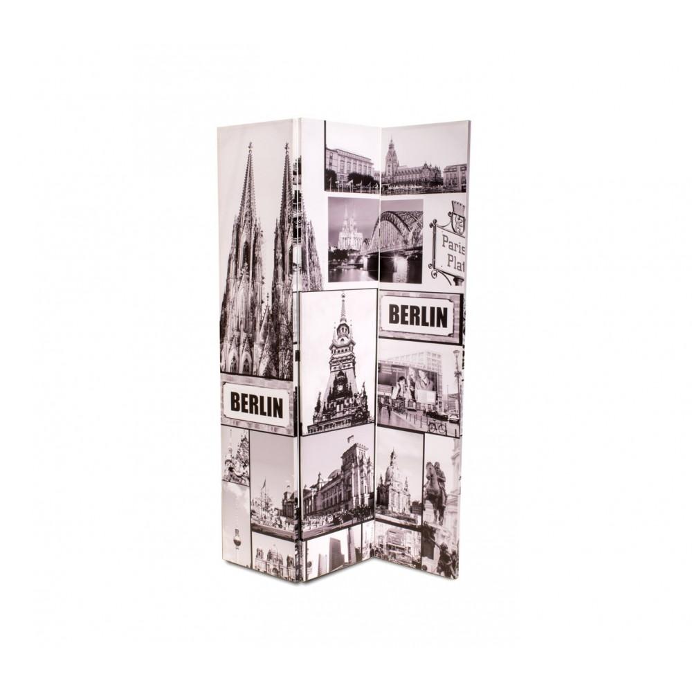 Separè paravento 05977 modello Berlino tela su legno 120 x 180 cm tre pannelli