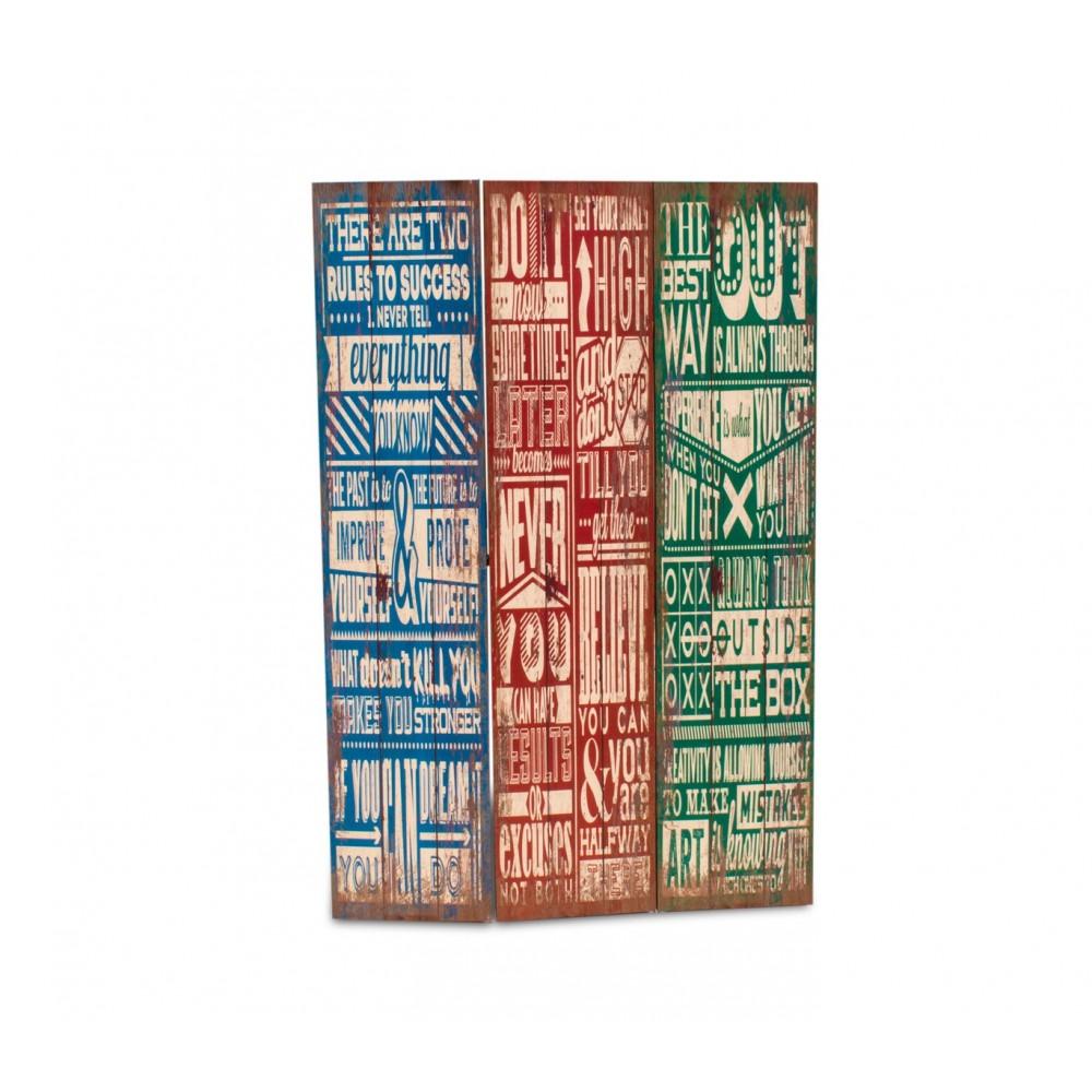 05979 Separè paravento modello Vintage tela su legno 120 x 180 cm tre pannelli