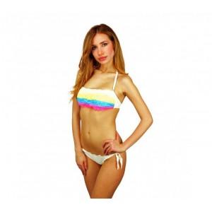 Image of F2861 Costume bikini a fascia mod. Rainbow con volants in pizzo by MWS AHEAD 8015489786606