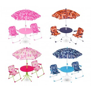 Set da giardino per bambini 177110 COVERI BABY tavolino sedie e ombrellone