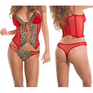 Completino lingerie sexy art.V808 mod. COUGAR corsetto e perizoma leopardato