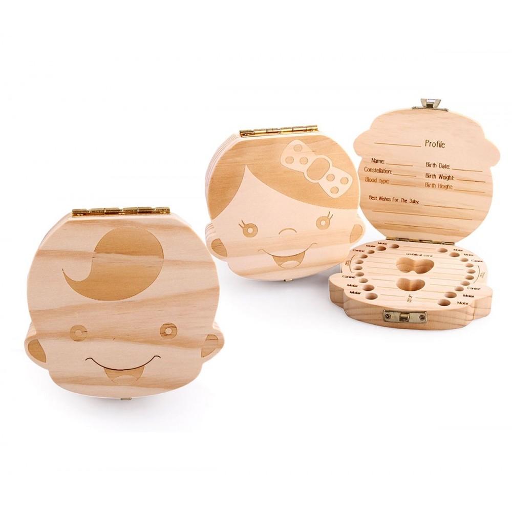Cofanetto in legno 4221 porta dentini da latte per maschietto e femminuccia