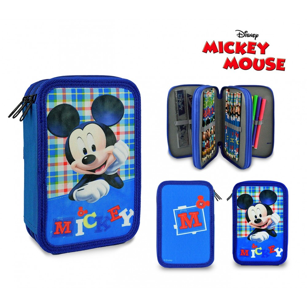 Astuccio portapastelli 686947 MIckey Mouse 3 cerniere completo di accessori