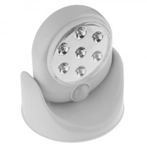 Image of Lampada Faro ruotante 360 gradi 7 led con sensore movimento faretto ripostiglio 8435524508350