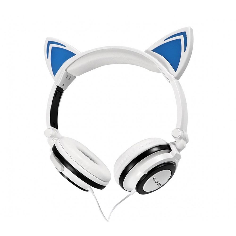 Cuffie con orecchie da gatto 4395 con led fisso o lampeggiante cavo 1,5 mt