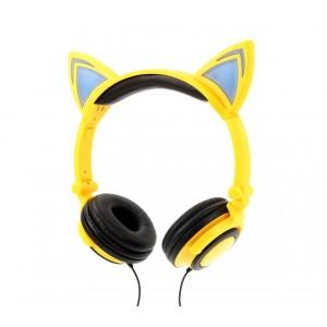 Image of Cuffie con orecchie da gatto 4395 con led fisso o lampeggiante cavo 1,5 mt 7106899479774