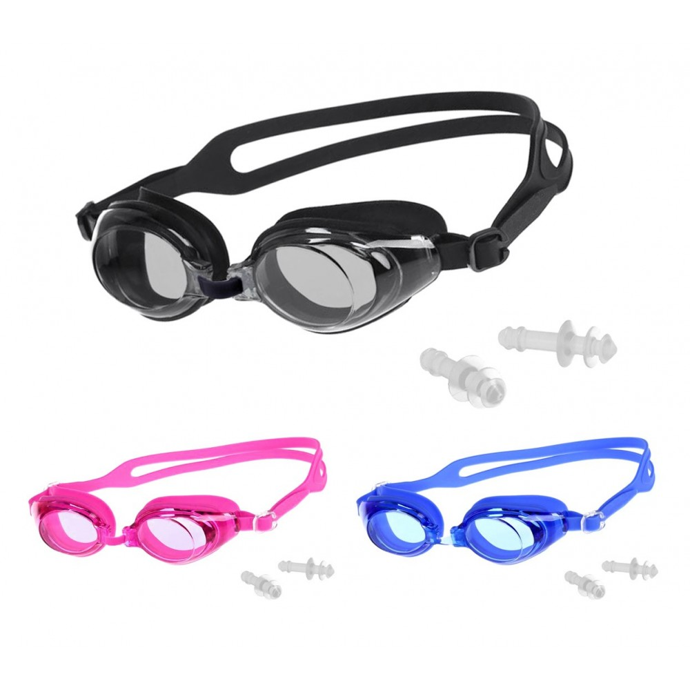 Set occhialini nuoto e tappi orecchie 250464 lente 4 cm nasello regolabile