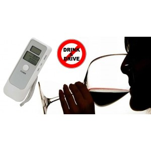 Image of Alcool test doppio display digitale etilometro portatile lcd con orologio BIANCO 8000215478085