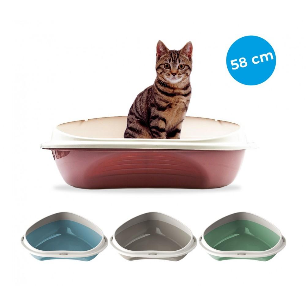 Lettiera scoperta 58 cm per gatti SHUTTLE ANGOLARE 10536 con bordi rialzati