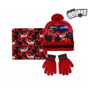Image of Completo 3 pz per bambini inverno LADY BUG 2200002541 cappello guanti e pashmina 7106893208264