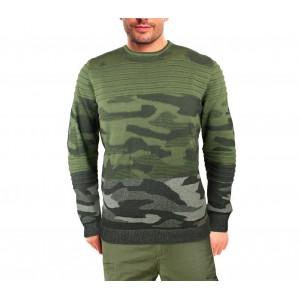 Image of Maglione uomo 3027 girocollo BLACK NUMBER mod. SOLDIER mimetico manica lunga 7106893289485