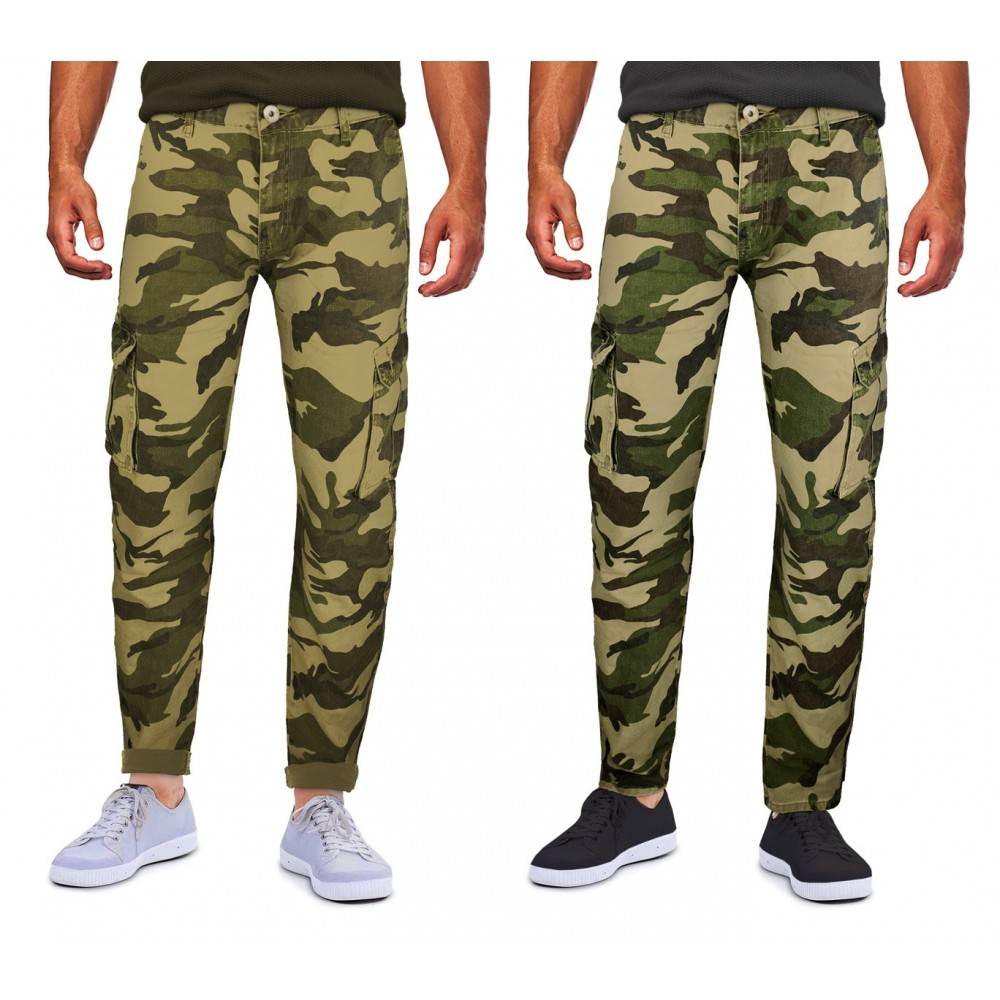 Pantalone uomo NEW BRAMS cargo mimetico LC-22 mod. REFERENCE tasconi lateral