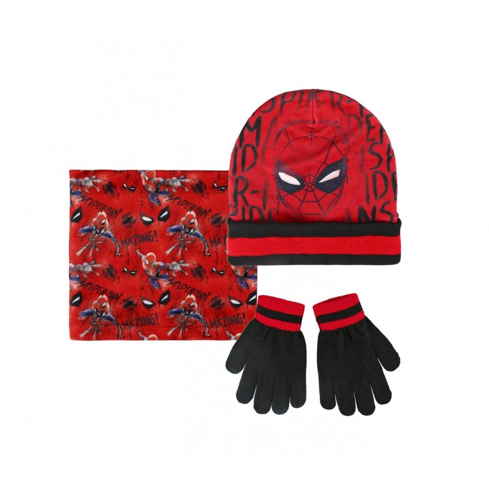 Completo 3 pz per bambini inverno Spiderman 2200002542 cappello guanti pashmina