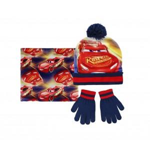 Image of Completo 3 pz per bambini inverno Cars 2200002545 cappello guanti e pashmina 7106892871896