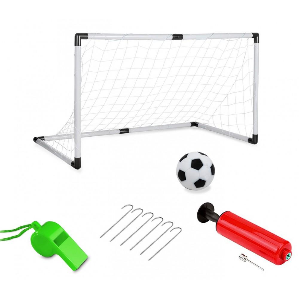 Porta da calcio telaio in plastica rete 177103 con palla fischietto e gonfiatore