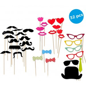 32 Pz Accessori per photo booth 106058 PHOTO PROPS labbra baffi ideale per feste
