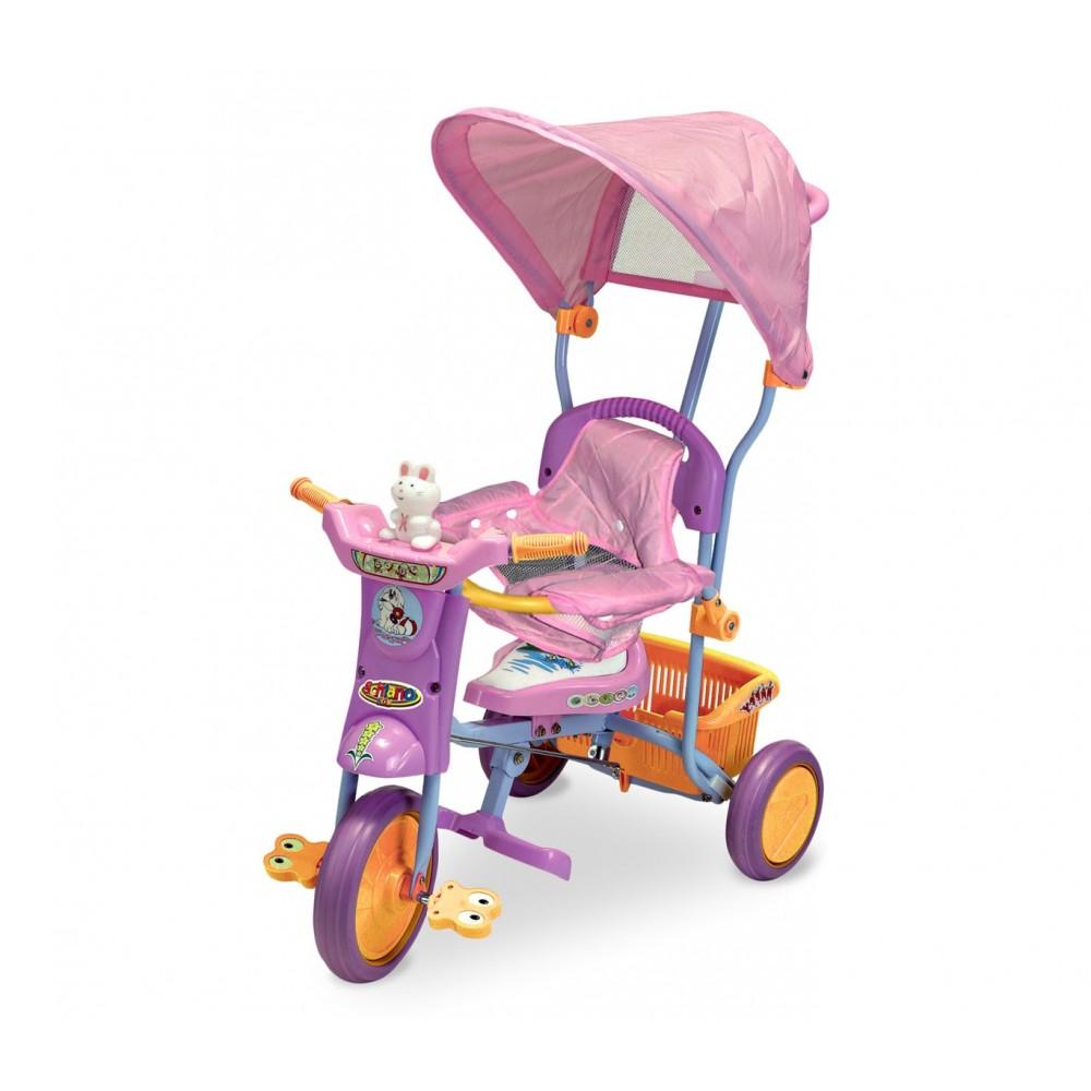 Triciclo a spinta TS43 con pedali e cappottina seduta con protezioni anticaduta