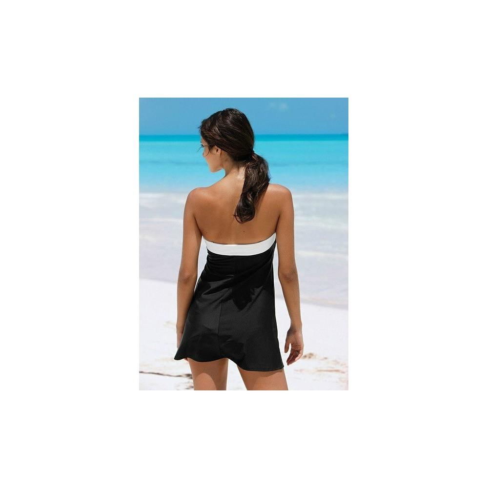 detailed pictures 11f6b 54da2 Vestito donna mod Tres Chic vestitino mare nero con fiocco ...