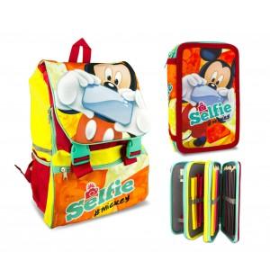 Set scuola Mickey Mouse Selfie MK16111 zaino estensibile con astuccio 3 cerniere