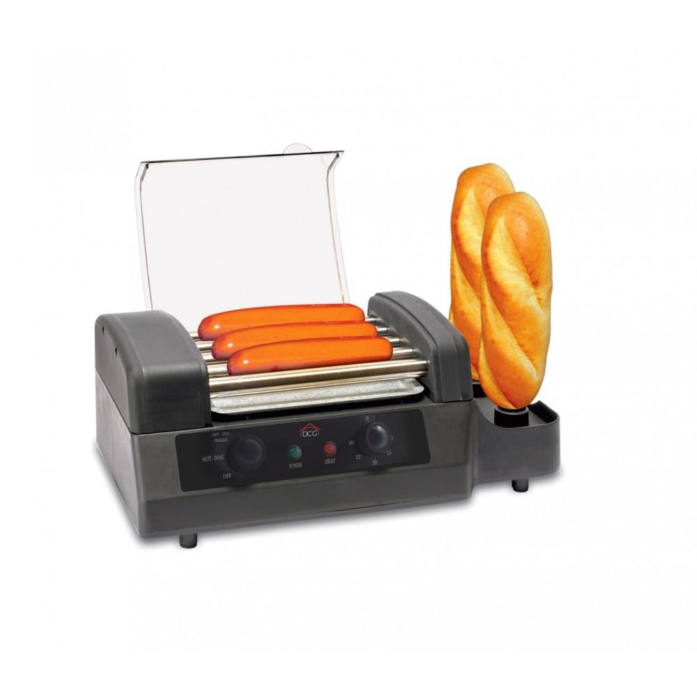 Macchina per hot dog HDM5580N DCG professionale 180 W con 5 rulli e 2 spiedi