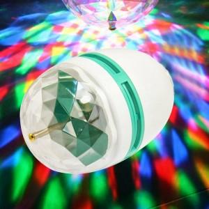 Image of Lampada lampadina led rgb rotante multicolore 3W attacco E27 giochi di luce 8435524515730
