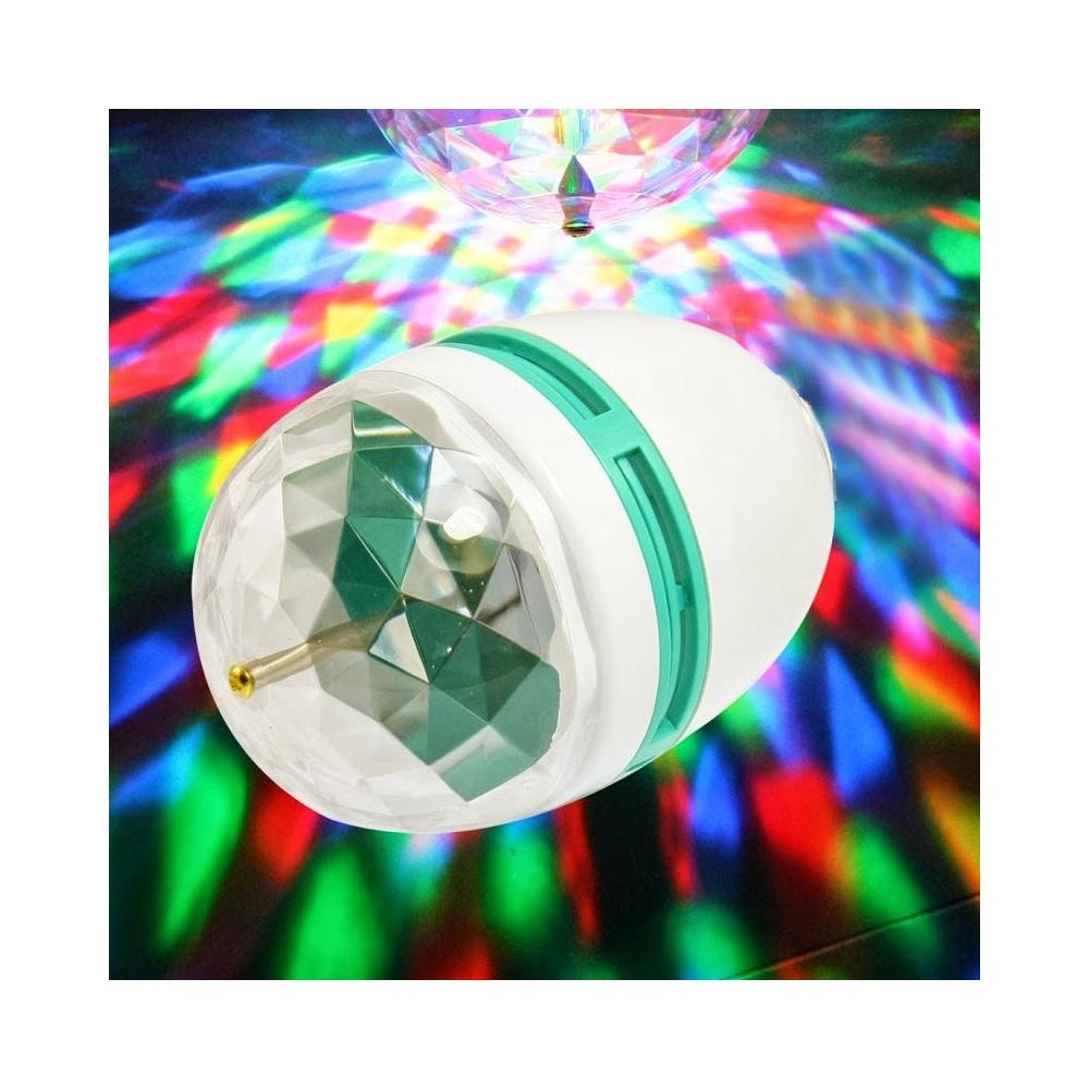 lampadina led multicolore : Lampada lampadina led rgb rotante multicolore 3W attacco E27 giochi di ...