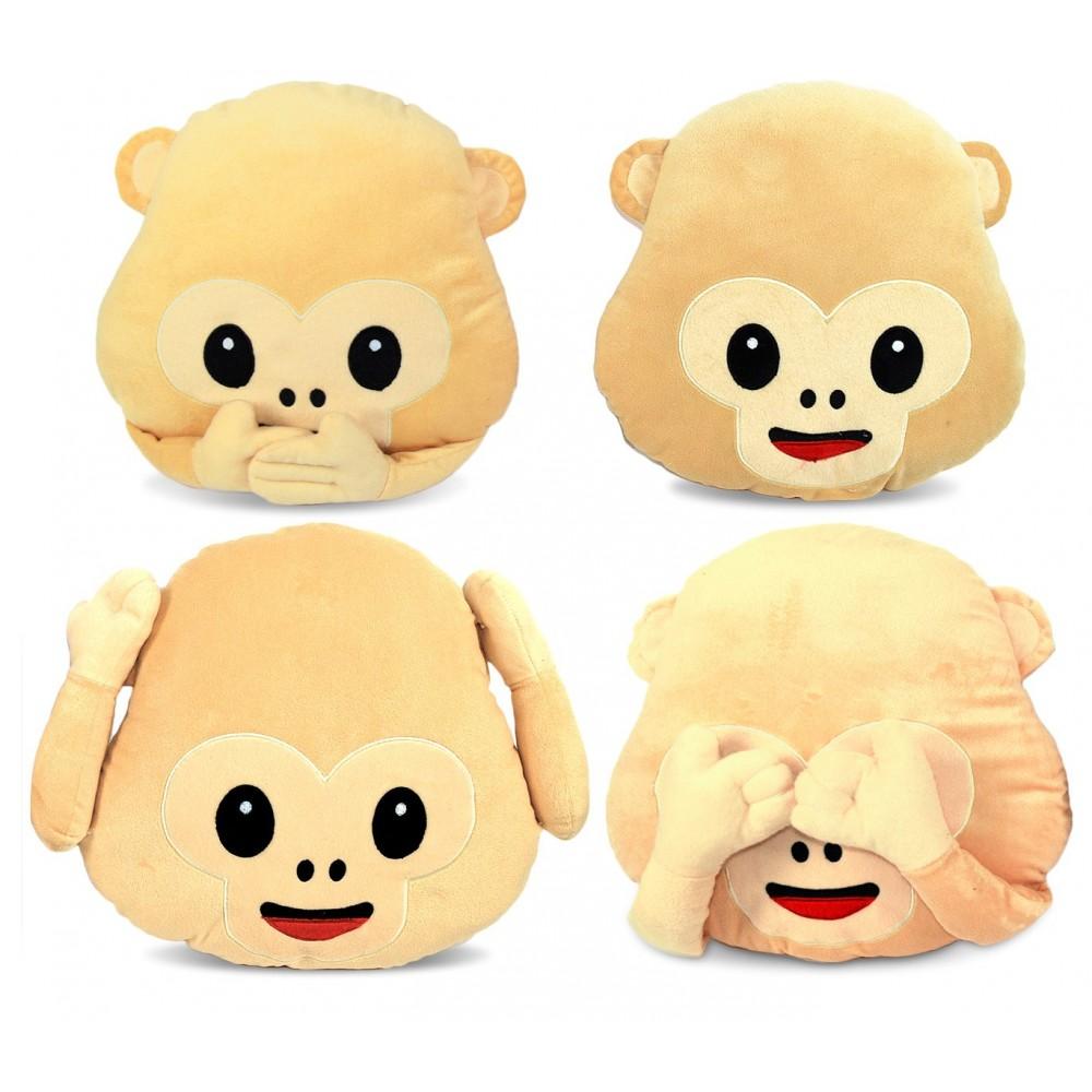 Cuscino emoticon scimmia 347621 non vedo - non sento - non parlo - sorriso 36 cm