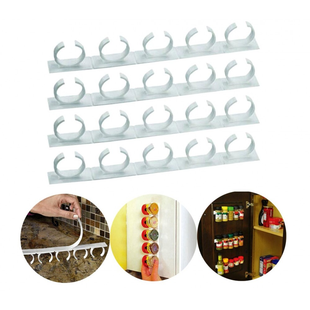 Set 4 strisce con 5 clip 4369 porta spezie adesive su tutte le superfici