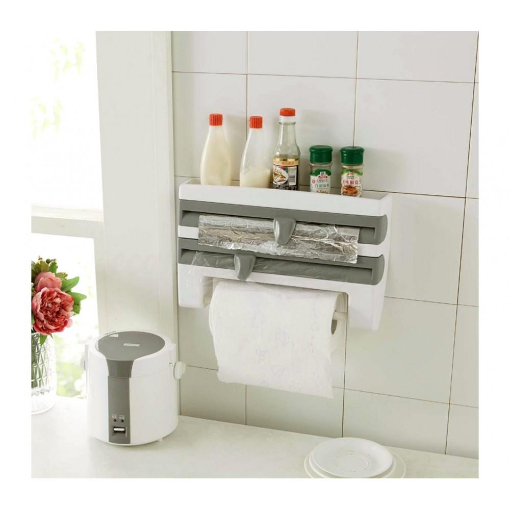 Dispenser porta rotoli 4363 da parete alluminio pellicola carta e porta spezie