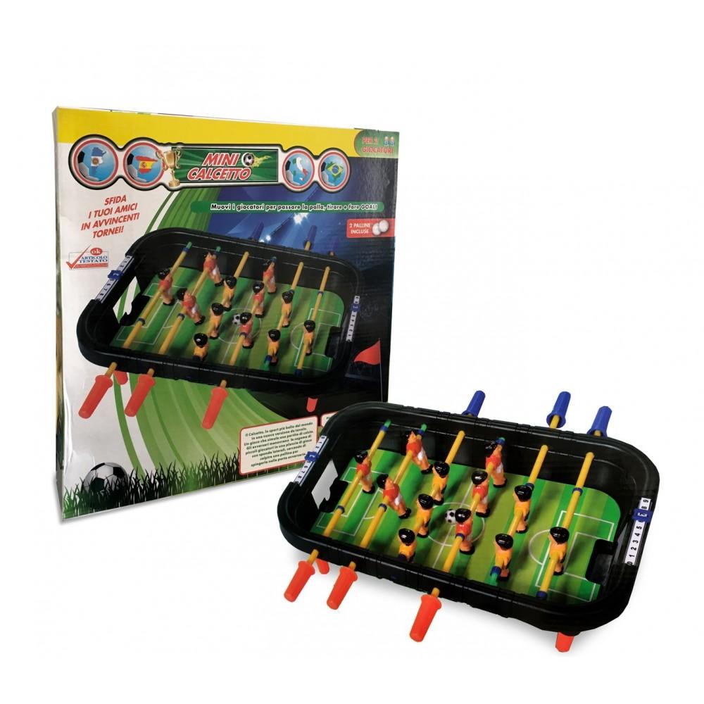 Mini calcetto giocattolo da tavolo 100424 con 12 giocatori 6 stecche con palline