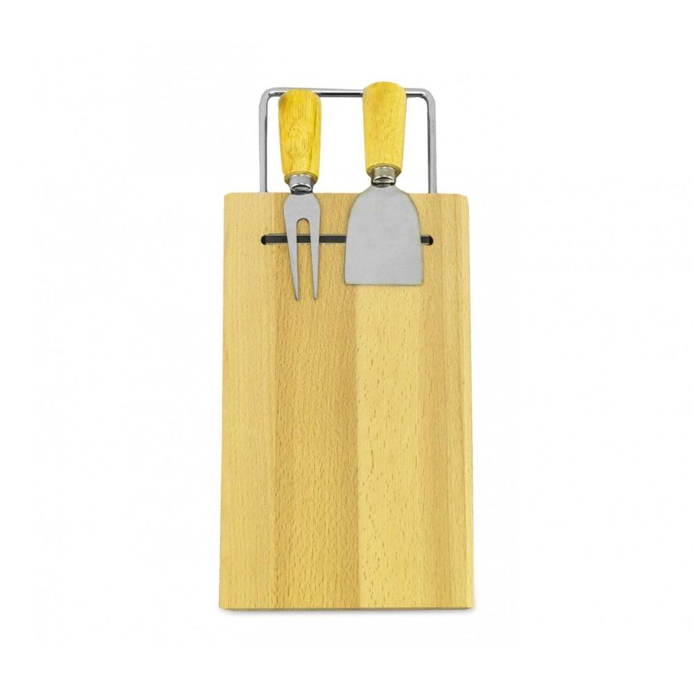 Tagliere per formaggio 689378 legno betulla con forchettone e spatola 33 x 15 cm