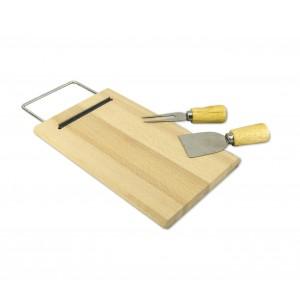 Tagliere per formaggio 689378 in di betulla con forchetta e spatola 33 x 15 cm