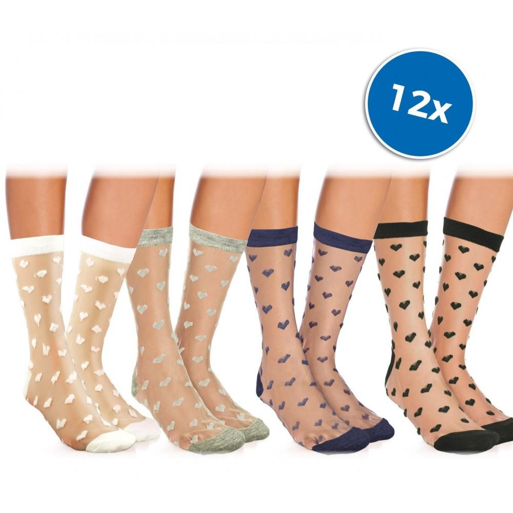 Pack da 12 paia calzini da donna W-8003 mod. LOVELY colori assortiti con CUORI