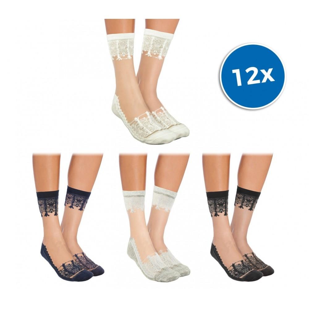 Pack da 12 paia calzini da donna W-8008 mod. LADIES fantasia in pizzo colori ass