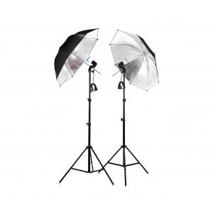 Image of Kit 2 ombrelli riflettenti fotografici da 85 cm 4493 con lampade da 135 watt 8435524505151