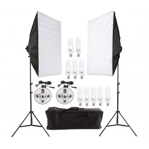 Set softbox fotografia 4499 due stand con 10 lamapde incluse e comoda custodia