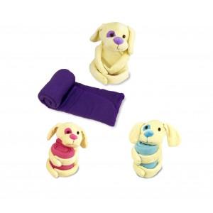 Set peluches e copertina 06708 DOLLYSSIMI 70 x 70 cm cagnolino dolci coccole